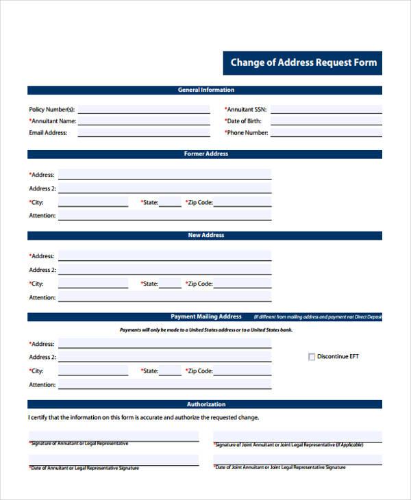 Printable Change Form - Printable Address Change Form