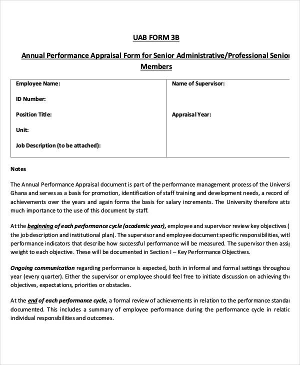 ... 6+ Annual Performance Appraisal Form   Free Sample, Example   Performance  Appraisal Forms Samples ...