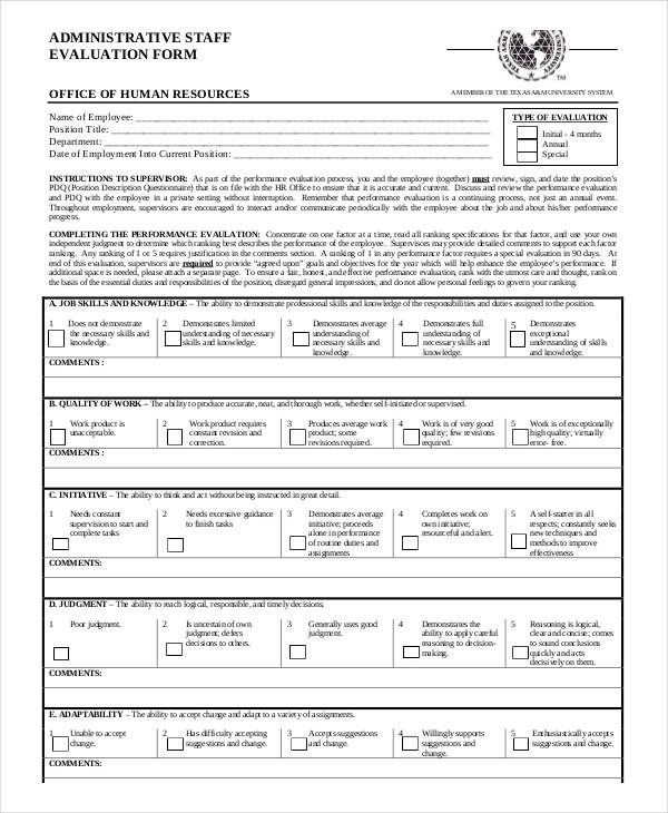 Employee Evaluation Form in PDF - staff evaluation form