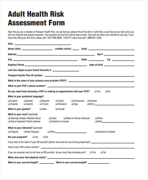 Health Risk Assessment Template Risk Analysis Template A Simplified - risk assessment form sample