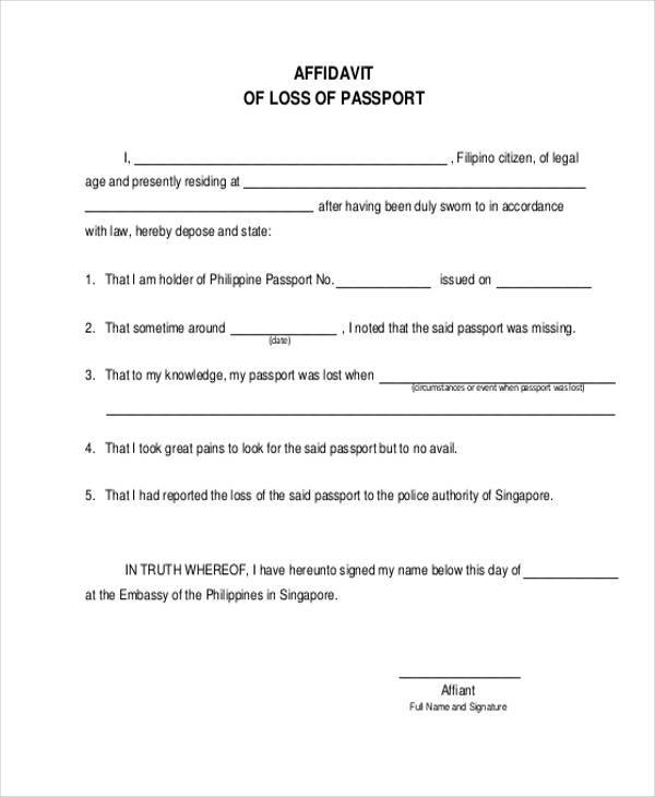affidavit of loss form - Pinephandshakeapp - lost passport form