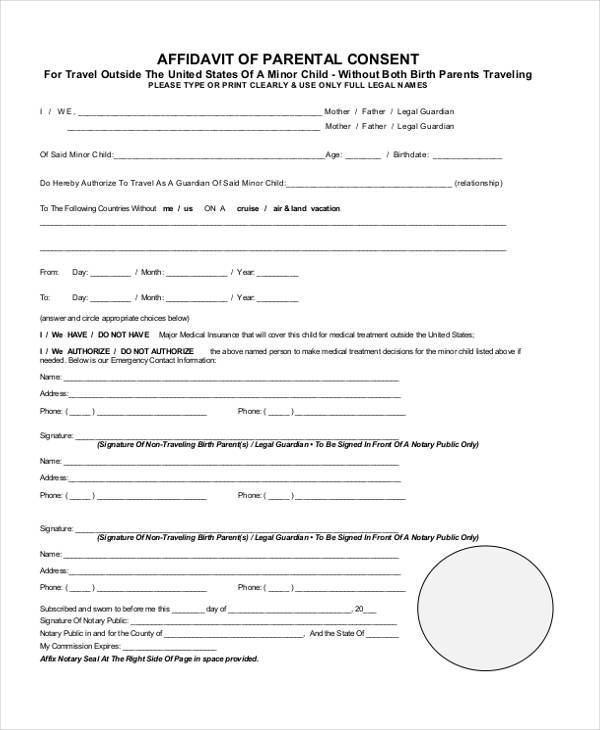 Top Result 60 Beautiful Parental Medical Consent form Template - printable affidavit form