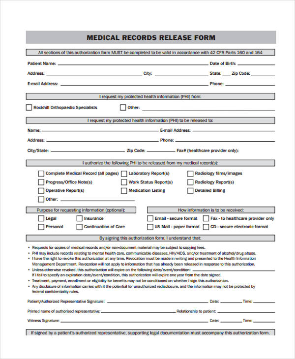 sample medical records release forms xv-gimnazija