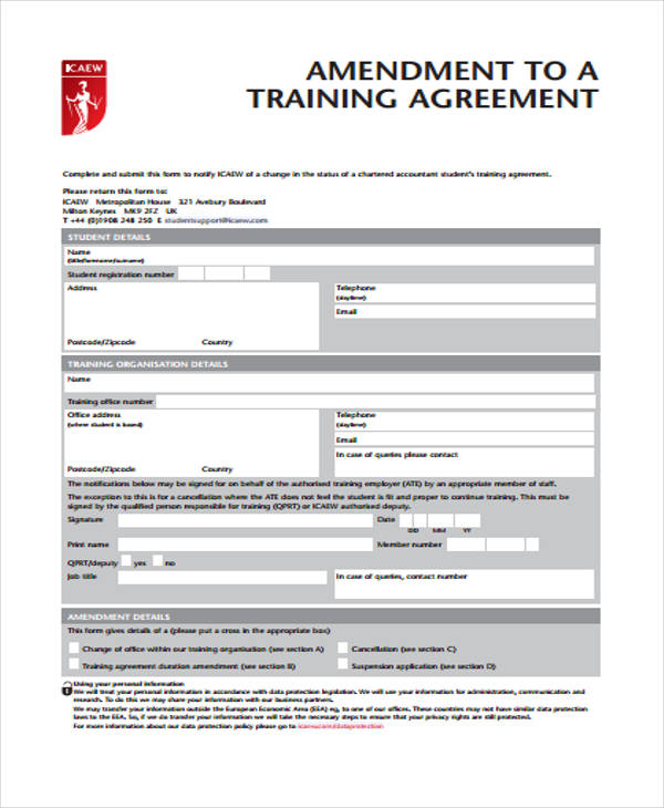 Training Agreement Contract 10 Best Images Of Printable Service - contract amendment template