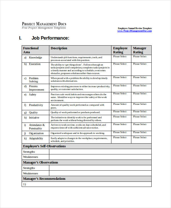 annual performance review sample