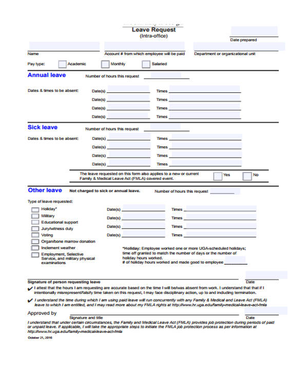 medical leave form – Leave Request Form