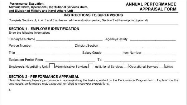 6+ Annual Performance Appraisal Form - Free Sample, Example, Format