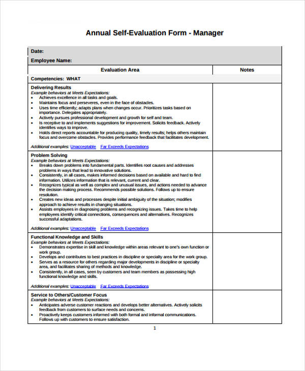 Self-Evaluation Form Templates - performance self evaluation form
