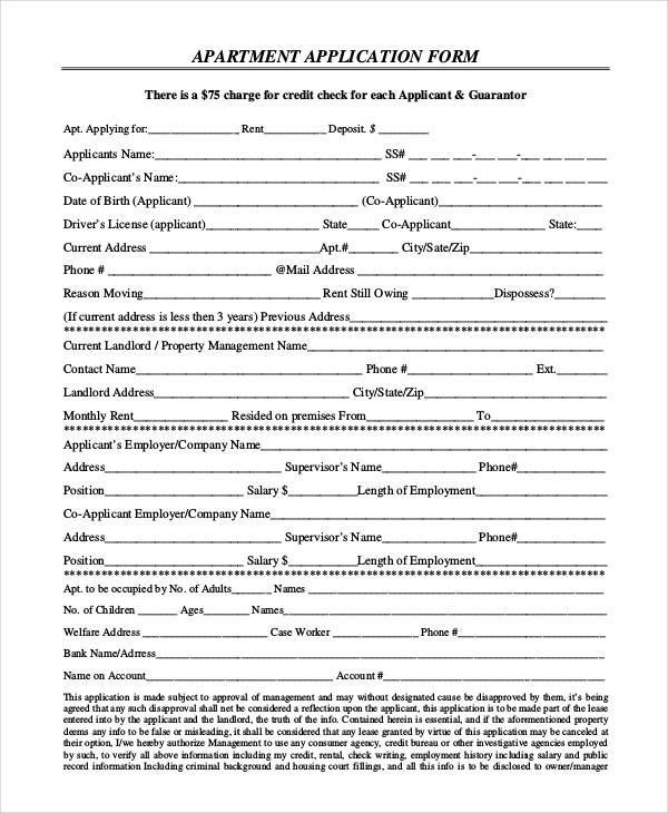 9+ Apartment Application Form Samples - Free Sample, Example - apartment application form