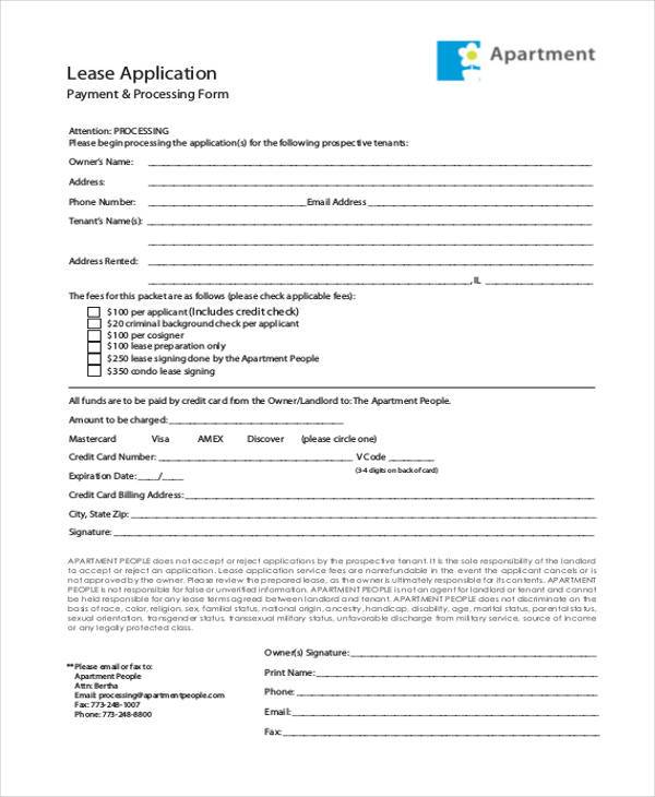 Basic Application FormsApartment Application Form In