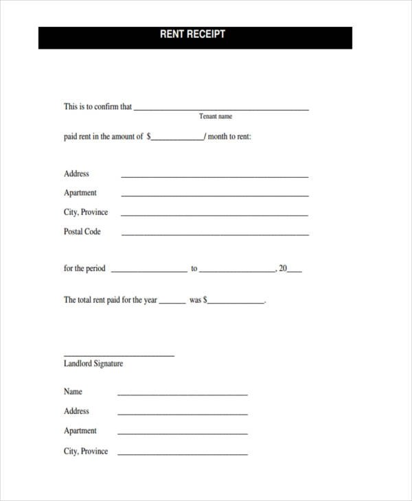 42 Free Receipt Forms - apartment rent receipt