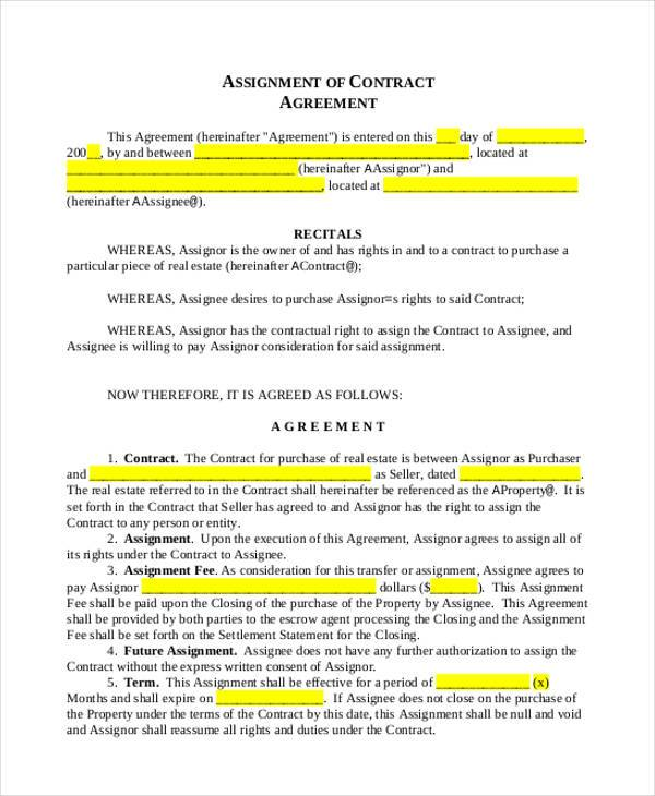 Assignment Agreement Trademark Assignment Agreement Trademark - assignment of contract
