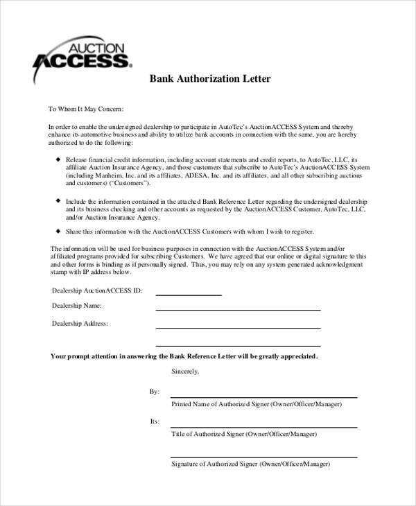 Blank Authorization Forms - letter authorizing