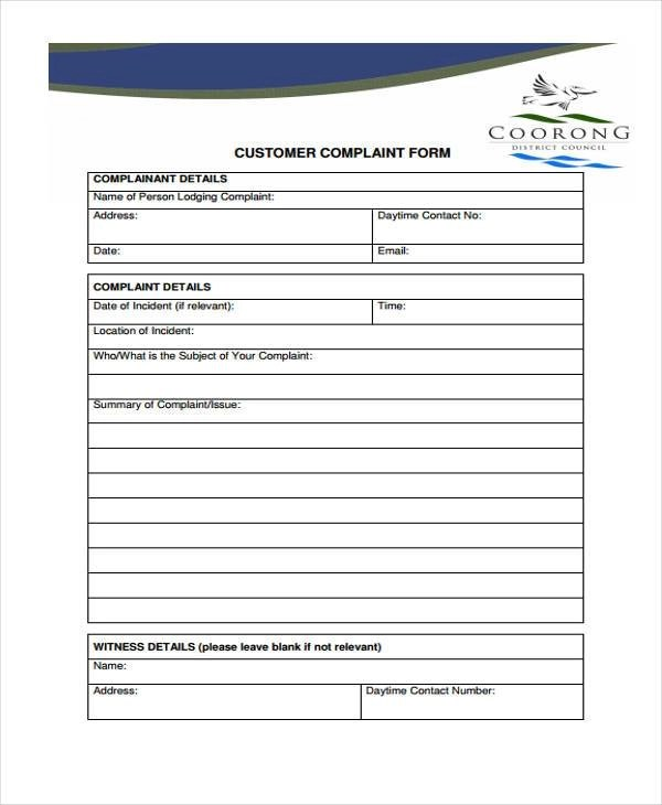 Free customer complaint form template nfgaccountability – Customer Complaints Form Template