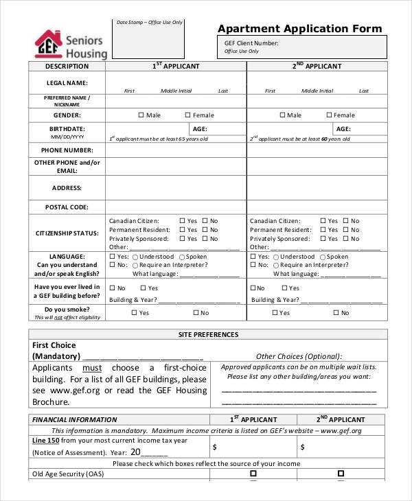 9+ Apartment Application Form Samples - Free Sample, Example Format - tenant application form