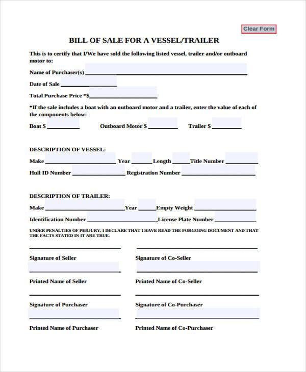 33 Bill of Sale Forms in PDF - sample boat bill of sale