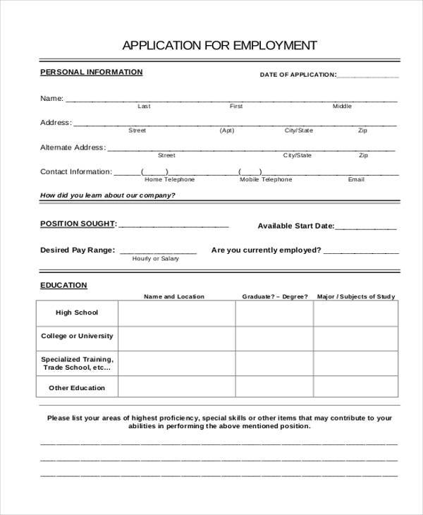 Application Form In Doc Doc Application Form Template Free Download