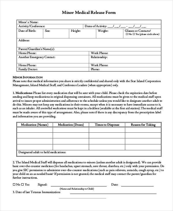 33 Medical Release Forms in PDF - Medical Information Release Form