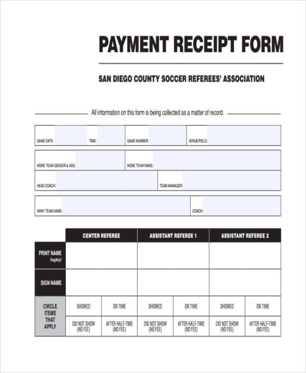 42 Free Receipt Forms - payment receipt templates