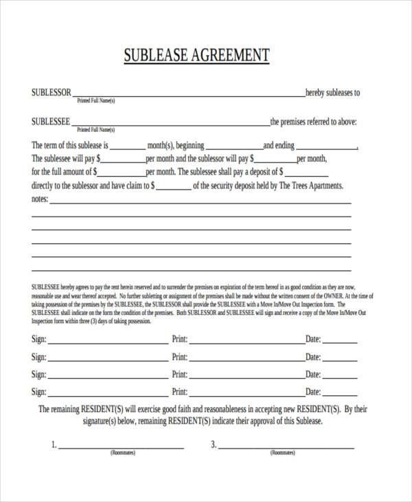 Sublet Agreement Sublease Agreement Download Free Documents In Pdf - basic sublet agreement