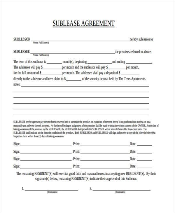 Basic Sublet Agreement - Unitedijawstates - basic sublet agreement