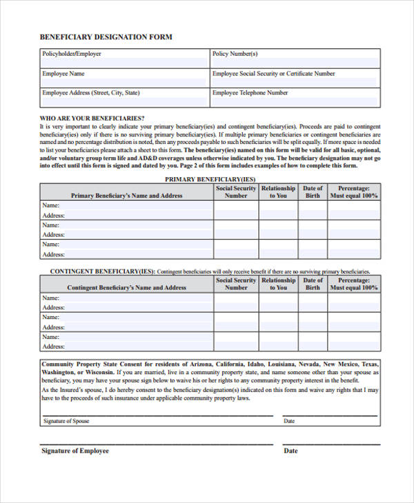 Beneficiary Receipt And Release Form