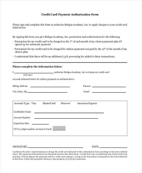 Authorization Form Templates - authorization to use credit card