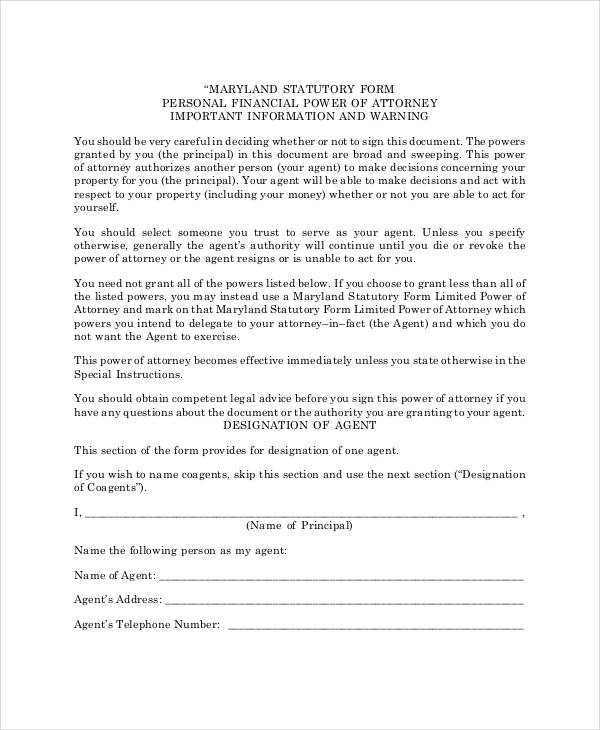 Free Power of Attorney Form - blank power of attorney form