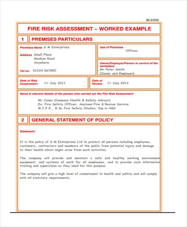 Risk Assessment Form Template - fire service application form