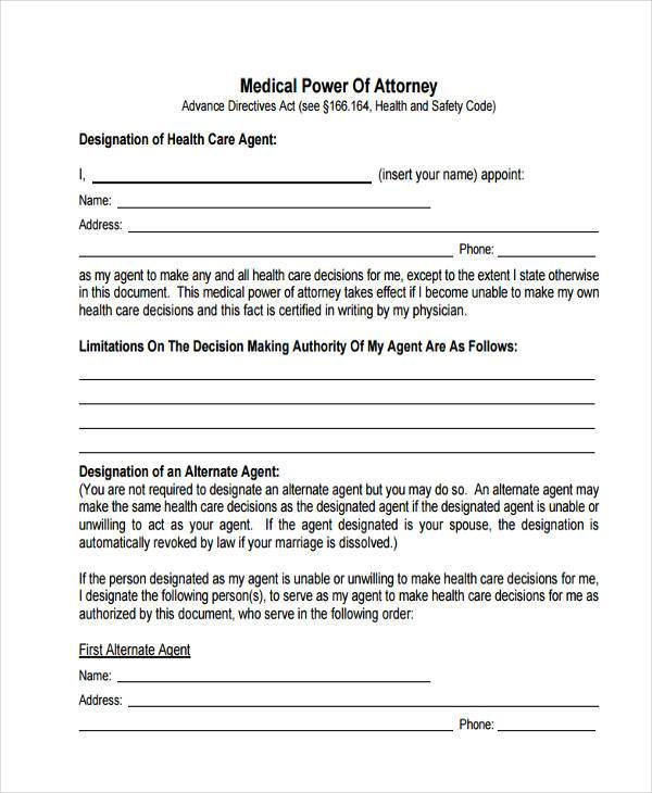 Power of Attorney Forms in PDF - Medical Power Of Attorney Form