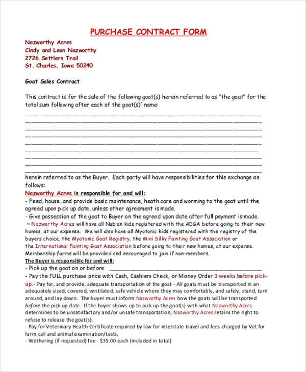 Contract Form Templates - blank contract template