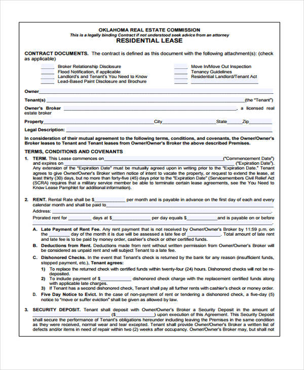 40 Sample Lease Agreement Forms - blank lease agreement example