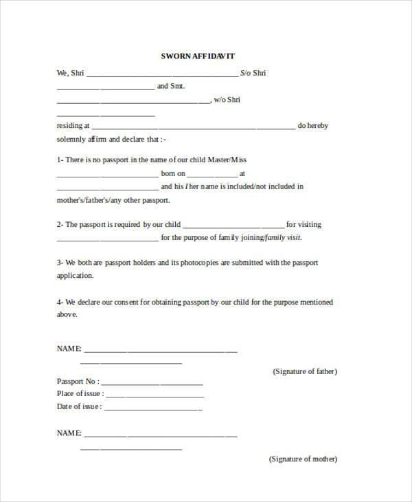Affidavit Forms in Word - name affidavit form