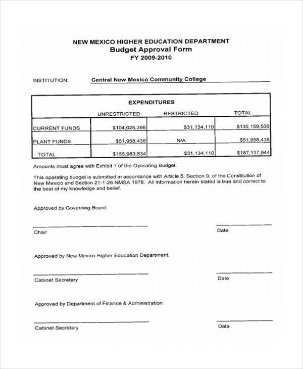 Budget Form templates - operating budget template