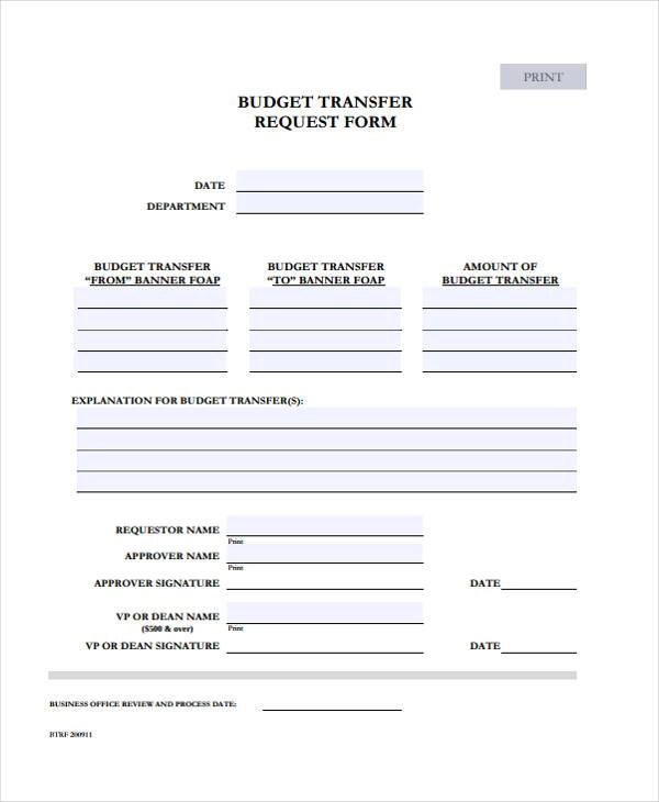 Budget Forms in PDF - budget request form