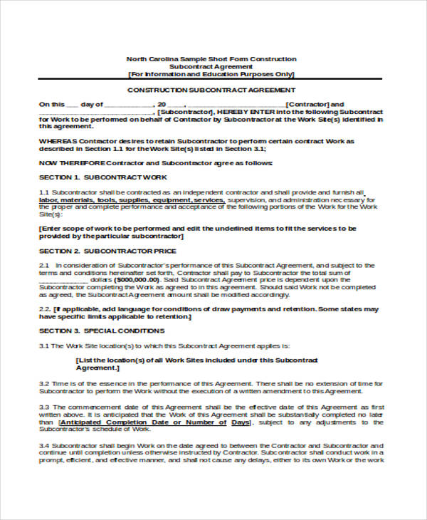 26 Contract Agreement Form Templates - subcontractor agreement template