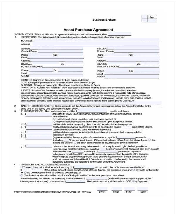 Sample Purchase Agreement Forms - asset purchase agreement template