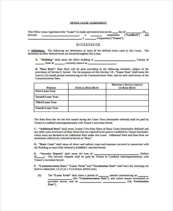 40 Sample Lease Agreement Forms - sample office lease agreement