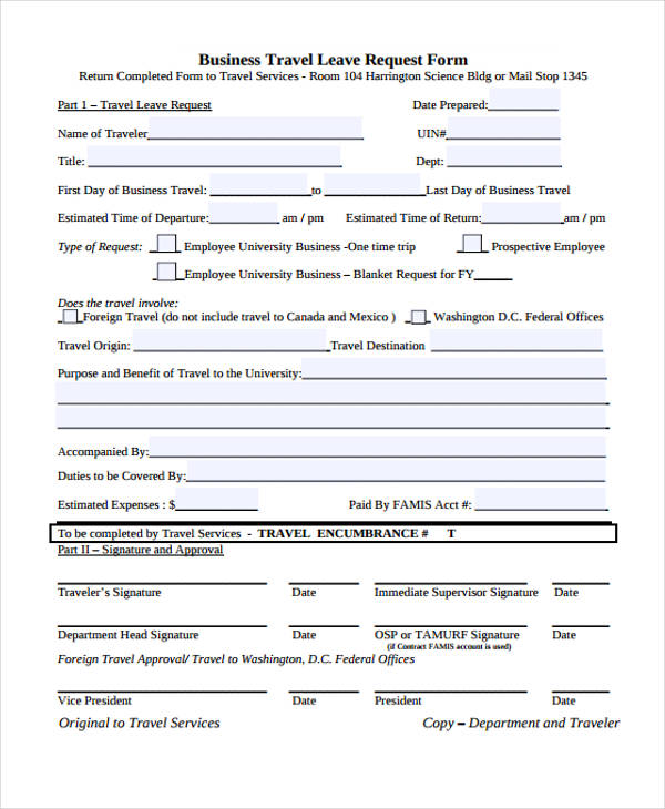 Travel Request Form Template - leave request form template