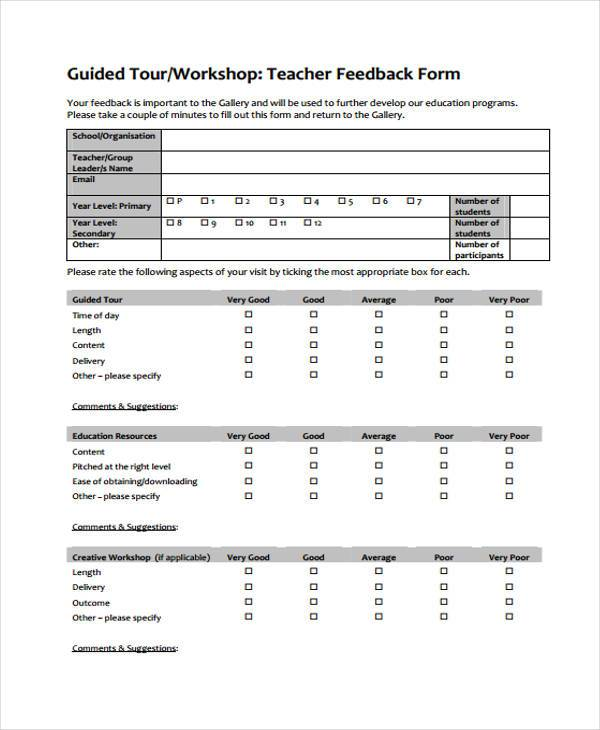 Workshop Feedback Form 8+ feedback format sample appeal leter - free feedback form