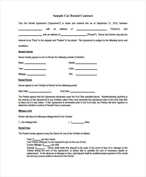 Car Rental Agreement Malaysia Sample Car Rental Agreement