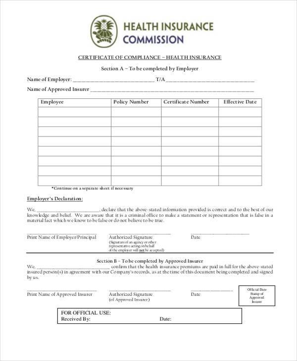 Certificate Form Templates - certificate of insurance template