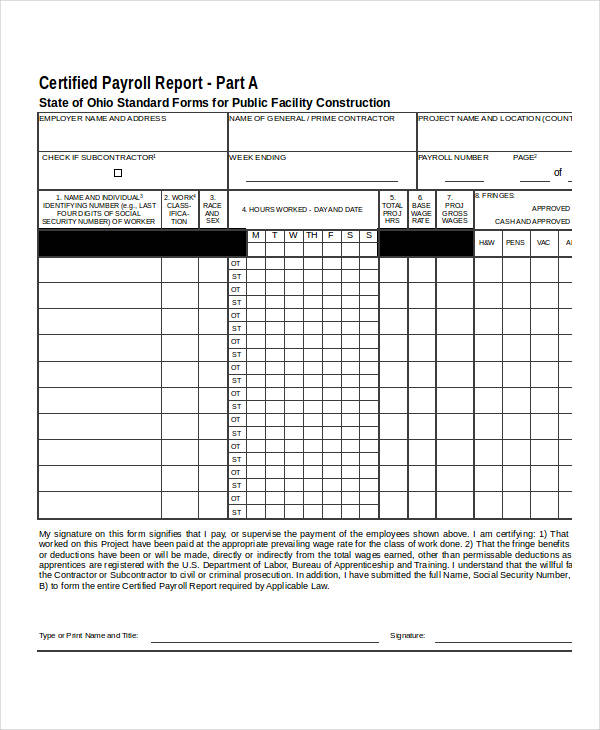21 Payroll Forms in Excel - certified payroll form