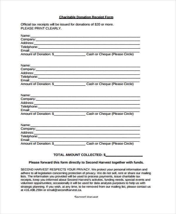 Receipt Form in PDF - collection receipt template