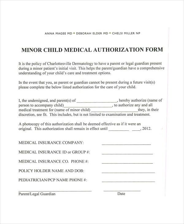 Elegant Sample Child Medical Consent form Download Child Medical