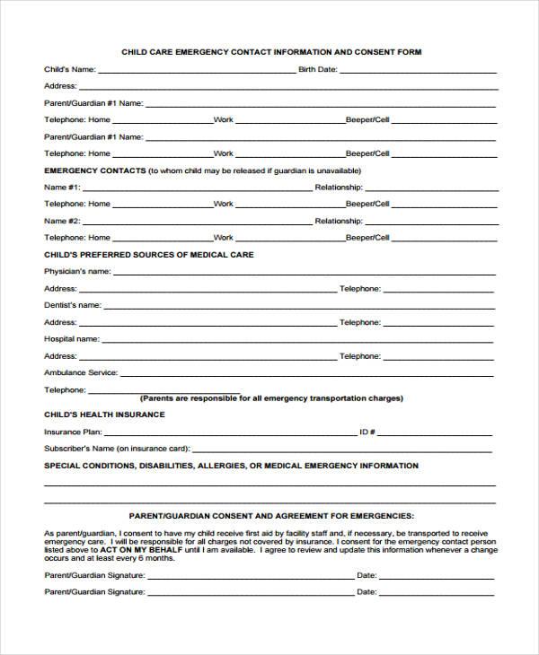 child care emergency contact form - Onwebioinnovate