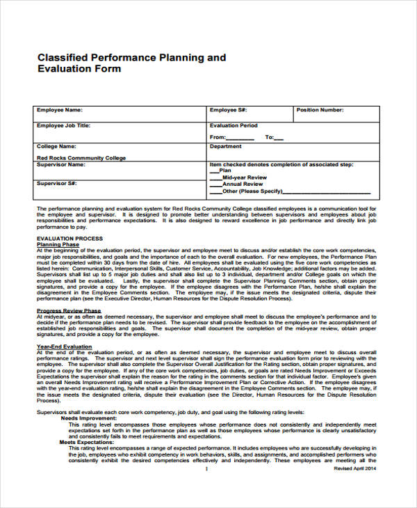 Employee Evaluation FormJob Evaluation Form Job Performance - employee review form