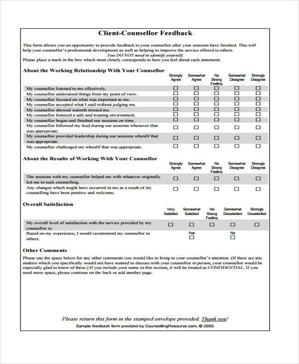 Client Evaluation Form Template - Costumepartyrun - Client Feedback Form In Word
