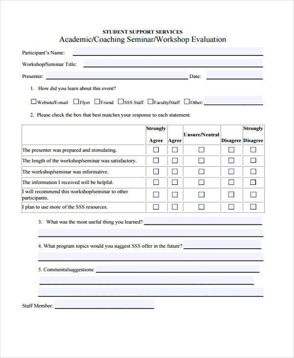 Seminar Evaluation Form  EnvResumeCloudInterhostsolutionsBe