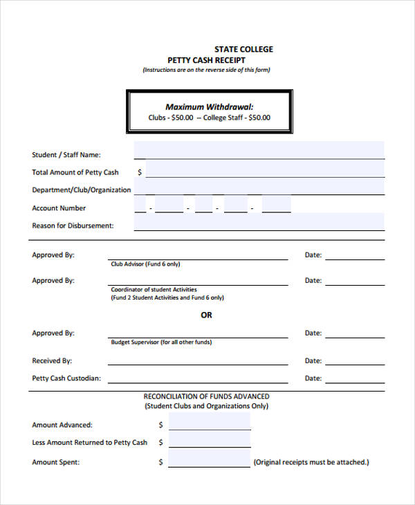 Printable Receipt Forms - 41+ Free Documents in Word, PDF - petty cash receipt template free